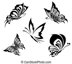 tatuagem, borboletas, pretas, branca