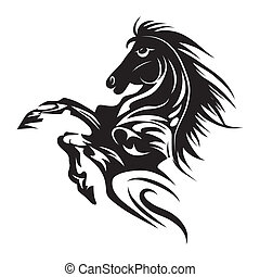 tatuagem, cavalo, emblema, símbolo, isolado, ou, desenho, logotipo, branca, template.