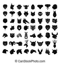 tatuagem, conjunto cabeça, grande, collecti, animal