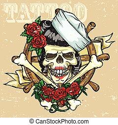 tatuagem, desenho, cranio