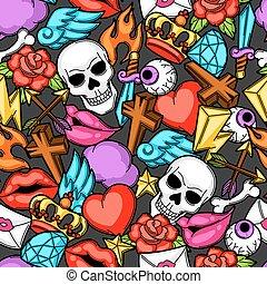 tatuagem, escola, symbols., antigas, padrão, seamless, ilustração, retro, caricatura