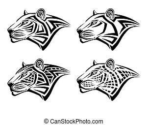 tatuagem, forma, tribal, leopardo