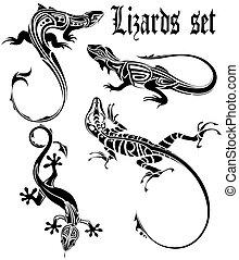 tatuagem, lagarto, jogo