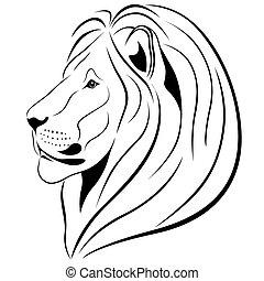 tatuagem, leão, forma