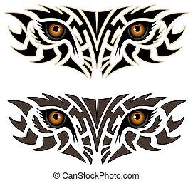 tatuagem, olhos, animal, tribal