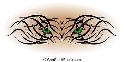 tatuagem, olhos, tribal