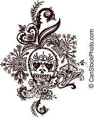 tatuagem, paisley, cranio, rocha