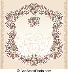 tatuagem, paisley, henna, quadro, doodle