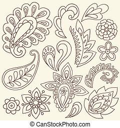 tatuagem, paisley, vetorial, henna, doodles