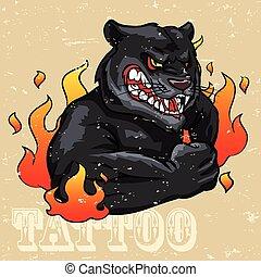 tatuagem, pantera, desenho, pretas