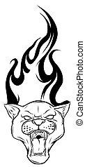 tatuagem, pretas, desenho, chamas, vetorial, pantera