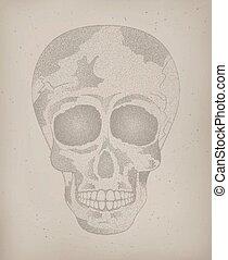 tatuagem, skull., cartaz, morto, human, vindima, dia