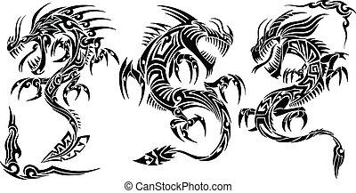 tatuagem, tribal, vetorial, jogo, dragão