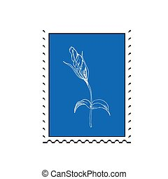 taxa postal, apartamento, estilo, cartaz, flower., album., selo, livro, ilustração, convite, simples, vetorial, desenho, bandeira
