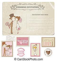taxa postal, cartão postal, -, desenho, convite, selos, casório, scrapbook, parabéns