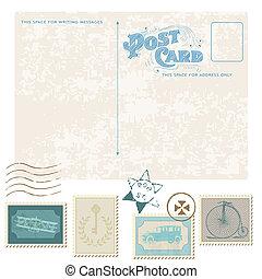taxa postal, cartão postal, -, desenho, convite, selos, retro, casório, scrapbook, parabéns