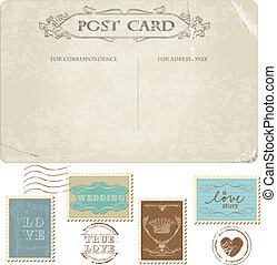 taxa postal, cartão postal, vindima, -, desenho, convite, selos, casório, scrapbook, parabéns