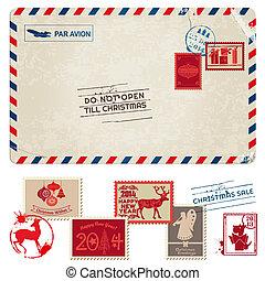 taxa postal, cartão postal, vindima, -, natal, selos, vetorial, scrapbook, desenho