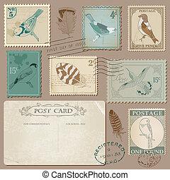 taxa postal, cartão postal, vindima, -, pássaros, convite, selos, casório, scrapbook, desenho