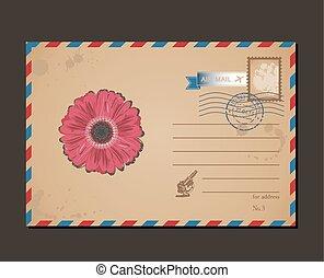 taxa postal, flor, letras, cartão postal, vindima, envelope, desenho, stamps., padrão
