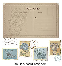taxa postal, jogo, cartão postal, vindima, -, selos, vetorial, flor, pássaros
