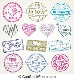 taxa postal, jogo, romanticos, cartão, selo, dia dos namorados, vetorial, desenho, convite, casório, poste