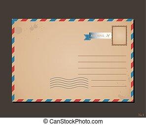 taxa postal, letras, cartão postal, vindima, envelope, desenho, stamps., padrão