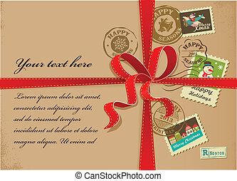 taxa postal, presente, vindima, selos, fita, natal, vermelho