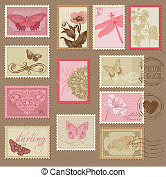 taxa postal, -, selos, convite, borboletas, retro, casório, scrapbook, flores, desenho