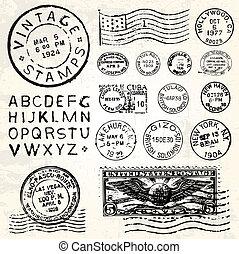 taxa postal, vetorial, jogo, retro