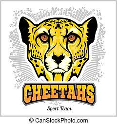 team., desporto, emblema, emblemas, cabeça, chitas, mascote, vetorial, ilustração, t-shirt, -