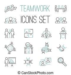 teambuilding, negócio, trabalho equipe, ícones, esboço