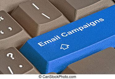 teclas, campaigings, teclado, e-mail