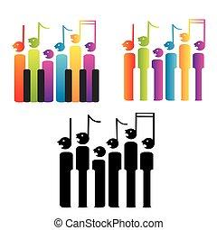 teclas, coro, notas, piano