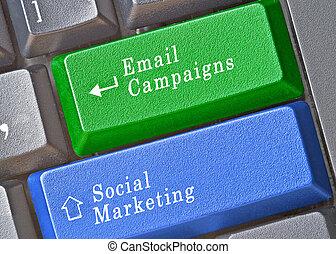 teclas, marketing, social, campaigings, e-mail