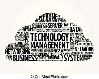 tecnologia, gerência, palavra, nuvem