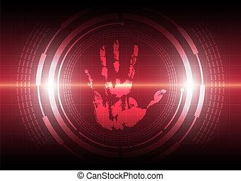 tecnologia, handprint, varredura