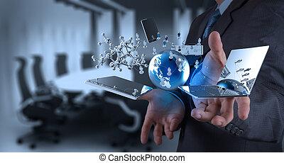 tecnologia, modernos, trabalhando, homem negócios