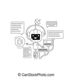 teia, application., serviço, criativo, robô, caricatura, linha magra, internet, vetorial, app, apoio, idéia, illustration., chatbot, 2d, bot, conceito, conversando, online, design., conversa, personagem, comunicação