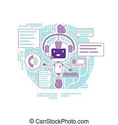 teia, application., serviço, criativo, robô, caricatura, linha magra, internet, vetorial, app, apoio, idéia, illustration., chatbot, automatizado, 2d, programa, conceito, responder, online, design., personagem, comunicação