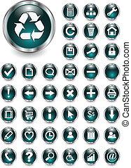 teia, botões, ícones