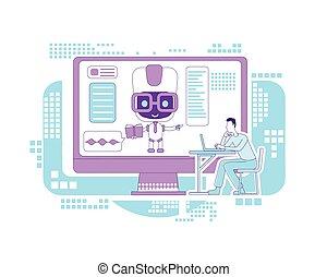 teia, criativo, desenvolvimento, robô, site web, assistente, curso, linha magra, caricatura, mercado de zurique, chatbot., aprendizagem, vetorial, estudante, educação, lição, idéia, tecnologia, illustration., bot, 2d, conceito, design., remoto, personagem