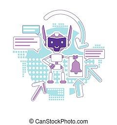 teia, criativo, email, robô, caricatura, assistente, linha magra, marketing, correios, vetorial, notificação, idéia, illustration., newsletter., automatizado, bot, 2d, enviando, conceito, digital, design., personagem