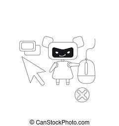 teia, cultivando., criativo, ligações, robô, caricatura, linha magra, internet vender, vetorial, clicando, mau, idéia, illustration., visitantes, anúncios, automatizado, clique, bot, 2d, conceito, webpages, design., personagem, fraude