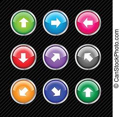 teia, direção, colorido, aqua, setas, diferente, cobrança, editar, botões, vetorial, fácil, use., size., 2.0, qualquer