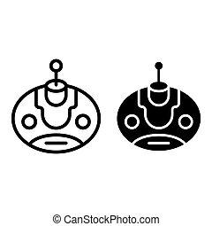 teia, estilo, 10., esboço, ai, bot, robô, ilustração, isolado, app., vetorial, projetado, icon., linha, eps, glyph, desenho, white.