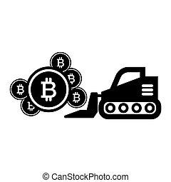 teia, estilo, 10, escavador, mineração, sólido, bitcoin, ilustração, isolado, app., vetorial, projetado, icon., eps, glyph, desenho, white.