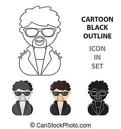 teia, estrela, móvel, ilustração, rocha, icon., caricatura, design.