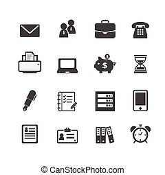 teia, financeiro, escritório, ícones negócio, trabalho, local trabalho