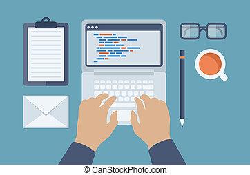 teia, html, programação, ilustração, apartamento